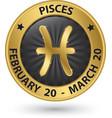 Pisces zodiac gold sign pisces symbol vector image