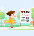 pretty girl run in a urban park with heartrate vector image