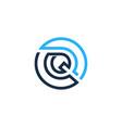 q letter circle line logo icon design vector image