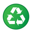 recycle icon circle frame green background vector image