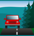 red car suv driving on a forest road sport vector image vector image