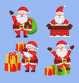 santa clauses set icon snow chimney bag box vector image