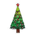 scribble christmas tree cartoon vector image