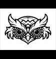 serious owl head tattoo concept vector image vector image