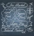 set eco food lettering on chalkboard vector image vector image