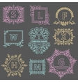 Set logos template emblem ornament lines vector image vector image