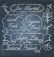 set of eco food lettering on chalkboard vector image