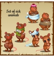 Sick and healthy mice and hamsters vector image vector image