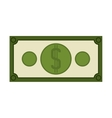 silhouette green bill with symbol dollar vector image