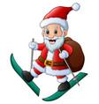 skiing santa claus with bag of presents vector image