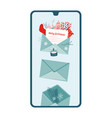 smartphone with a new christmas festive message on vector image vector image