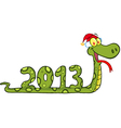 Snake Showing Numbers 2013 With With Santa Hat vector image vector image