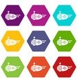 submarine navy icons set 9 vector image vector image