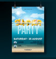 summer beach party flyer design with 3d vector image vector image