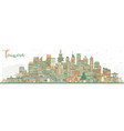 taiwan city skyline with color buildings vector image vector image