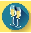 Two glasses of champagne flat icon - celebration vector image