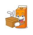 with box package juice character cartoon vector image vector image