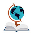 world globe and book open vector image vector image