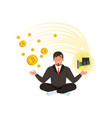 young businessman meditating in lotus position vector image