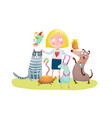 young girl and pet shop vector image