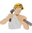 Builder or the miner works with a hammer and a vector image