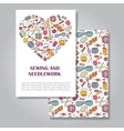 Two sides invitation card design with sewing and vector image