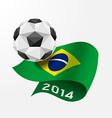 Soccer ball Geometric on Flag of Brazil 2014 vector image