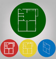 apartment house floor plans 4 white vector image vector image
