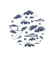 cars in a circle icons set vector image