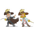 cartoon musketeer with sword characters set vector image vector image