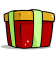 cartoon shiny red present gift box vector image