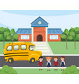 children students in the school and bus transport vector image vector image