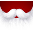 closeup white santa beard on red background vector image vector image