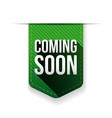 Coming Soon green ribbon vector image vector image