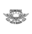 criminal ghetto warrior skull with wings and vector image vector image