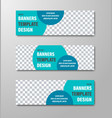 design of horizontal web banners with blue vector image vector image