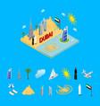 dubai uae travel and tourism concept 3d isometric vector image vector image