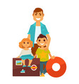 father with kids near travelling bags and lifebuoy vector image
