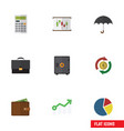 flat icon incoming set of calculate portfolio vector image vector image