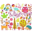 forest design elements in doodle style vector image vector image