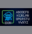 glowing neon cloud vpn interface icon isolated on vector image vector image