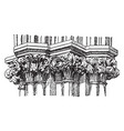 gothic capitals out vintage engraving vector image vector image