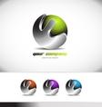 Green metal sphere corporate business 3d logo vector image vector image