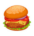 hamburger with cutlet piece of cheese lettuce vector image vector image