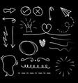 hand drawn set elements on black background vector image vector image