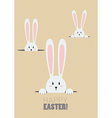 happy easter with white rabbits in a hole vector image vector image