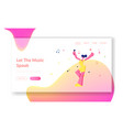 happy female character cheerfully singing song in vector image vector image