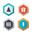 Happy new year sign Christmas tree and gift box vector image vector image