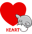 heart shape with cartoon mouse vector image vector image
