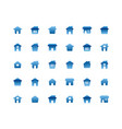 home flat icon set on white background vector image